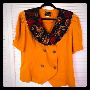 🌸NEW🌸EUC VTG short sleeved mustard floral blazer